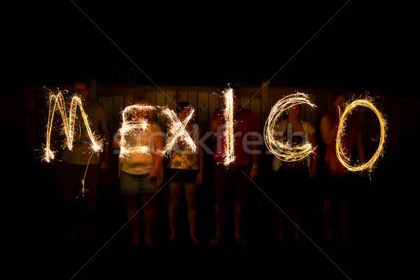 The word Mexico in sparklers time lapse photography Stock photo © bigjohn36