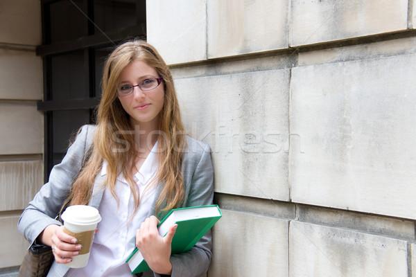 Beautiful female student with book Stock photo © bigjohn36