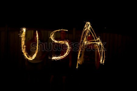 The word UK in sparklers time lapse photography Stock photo © bigjohn36