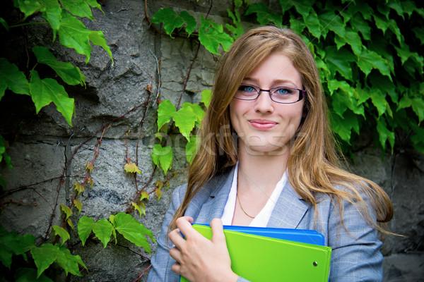 Stockfoto: Portret · schoolmeisje · campus · vrouwelijke · student · vrouw