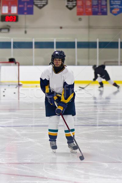 хоккей женщину игрок здоровья зима Сток-фото © bigjohn36