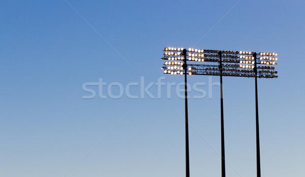 スタジアム ライト 青空 空 光 電気 ストックフォト © bigjohn36
