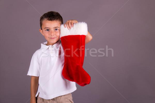 少年 クリスマス ストッキング 冬 赤 休日 ストックフォト © bigjohn36
