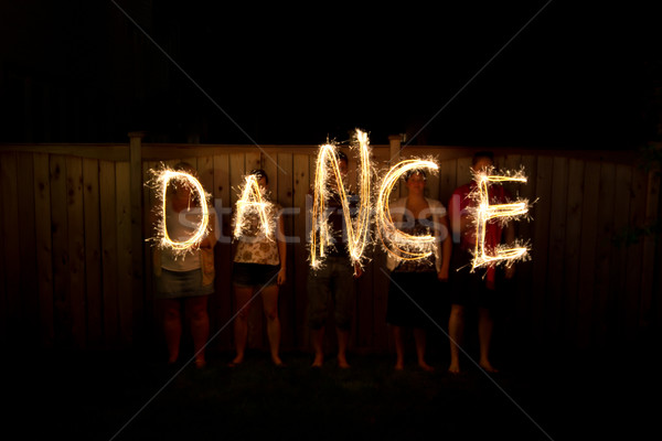 The word Party in sparklers time lapse photography Stock photo © bigjohn36
