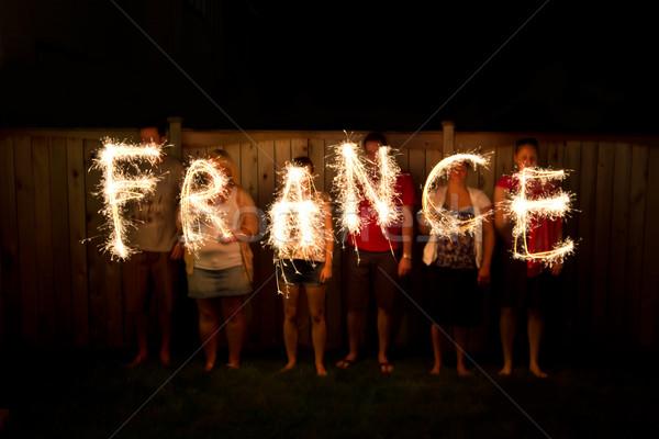 слово Франция время фотографии свет ночь Сток-фото © bigjohn36