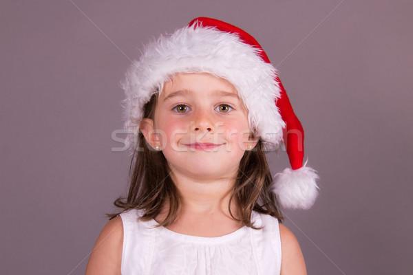 девочку Hat улыбка красный настоящее Сток-фото © bigjohn36
