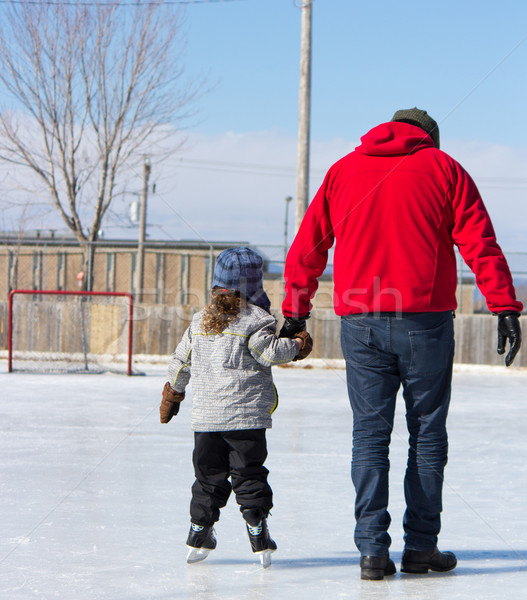 отец преподавания дочь льда Skate Открытый Сток-фото © bigjohn36