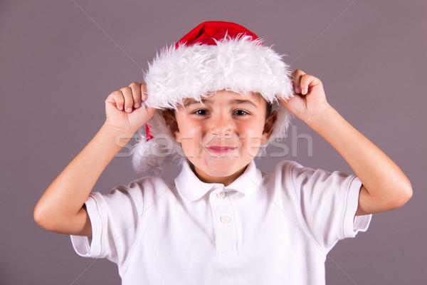 少年 サンタクロース 帽子 幸せ 肖像 ストックフォト © bigjohn36