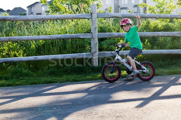 子 自転車 自転車 パス 公園 夏 ストックフォト © bigjohn36