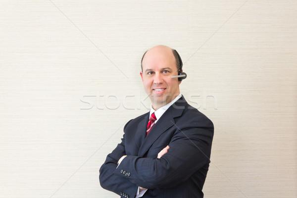 ビジネスマン ヘッド 電話 ビジネス 幸せ ビジネスマン ストックフォト © bigjohn36