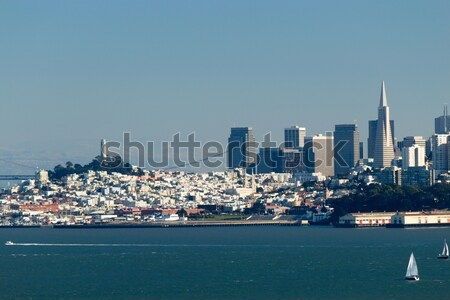 Vrachtschip San Francisco business kantoor water zee Stockfoto © bigjohn36