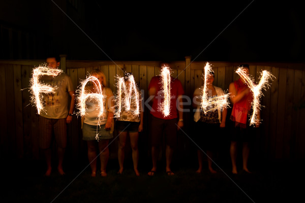 The word Family in sparklers time lapse photography Stock photo © bigjohn36