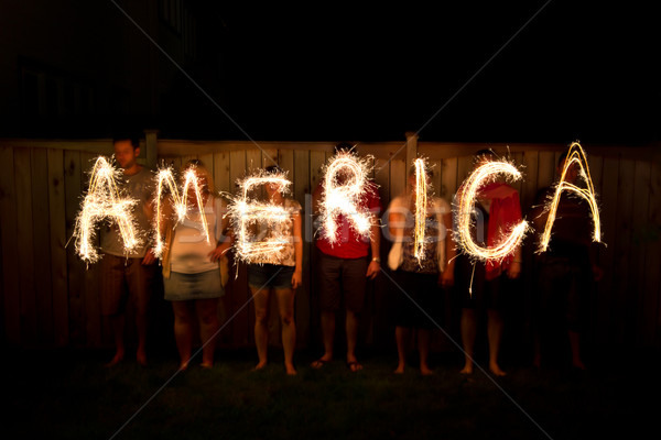 The word America in sparklers as part of Independance Day (July  Stock photo © bigjohn36