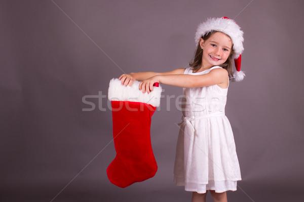 девочку Рождества чулок девушки красный Hat Сток-фото © bigjohn36