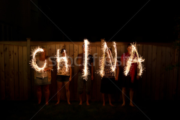 The word China in sparklers time lapse photography Stock photo © bigjohn36
