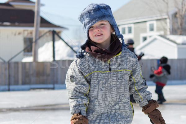Kislány korcsolyázás szabadtér pálya lány jég Stock fotó © bigjohn36