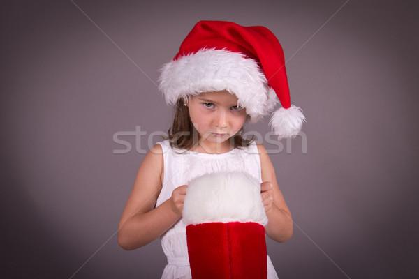 девочку Рождества чулок ребенка печально красный Сток-фото © bigjohn36