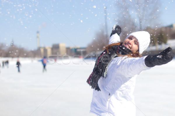 幸せ 女性 演奏 雪 冬 幸せな女の子 ストックフォト © bigjohn36
