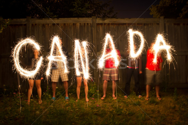 Canada sparklers in time lapse photography Stock photo © bigjohn36