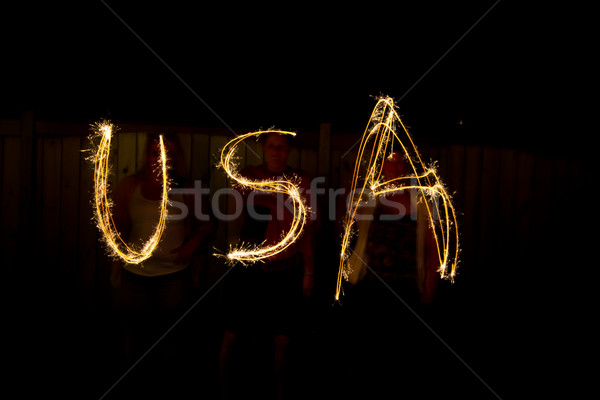 The word USA in sparklers as part of Independance Day (July 4th) Stock photo © bigjohn36