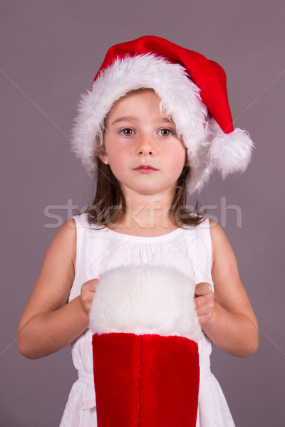 девушки Рождества чулок ребенка красный праздник Сток-фото © bigjohn36