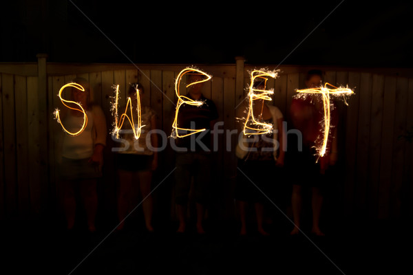 The word Spain in sparklers time lapse photography Stock photo © bigjohn36