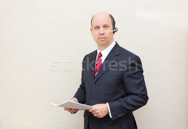 ビジネスマン ヘッド 文書 電話 ビジネス ストックフォト © bigjohn36