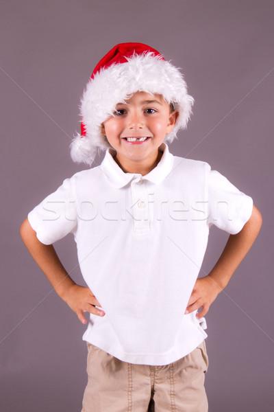 Hat счастливым портрет красный Сток-фото © bigjohn36