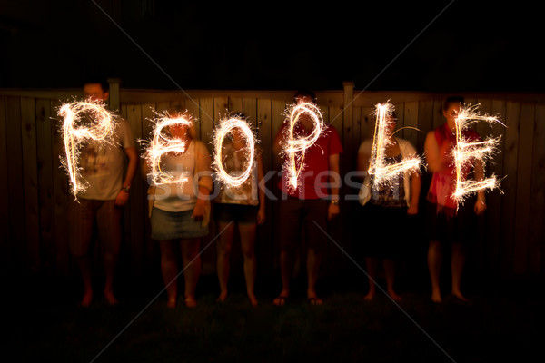 The word People in sparklers time lapse photography Stock photo © bigjohn36