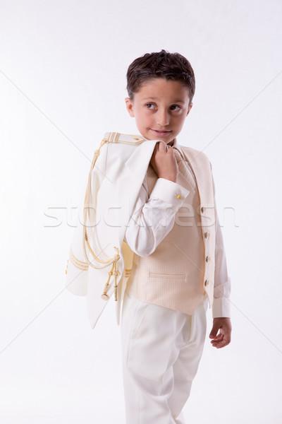 Fiatal srác kabát váll fiatal elsőáldozás fiú Stock fotó © BigKnell
