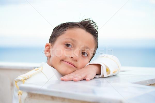 Fiatal elsőáldozás fiú dől fal fej Stock fotó © BigKnell