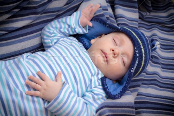 Zdjęcia stock: Baby · chłopca · snem · pasiasty · hat