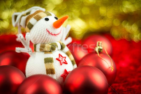 Wełny snowman christmas płytki Zdjęcia stock © BigKnell