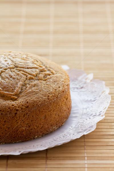 Piskóta házi készítésű papír étel torta fehér Stock fotó © BigKnell