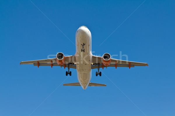 Vliegtuig landing licht Blauw vakantie Stockfoto © BigKnell
