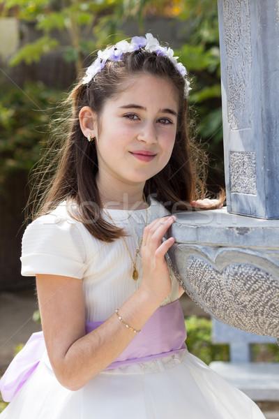 Fiatal lány mosolyog elsőáldozás ünnepel első szent Stock fotó © BigKnell