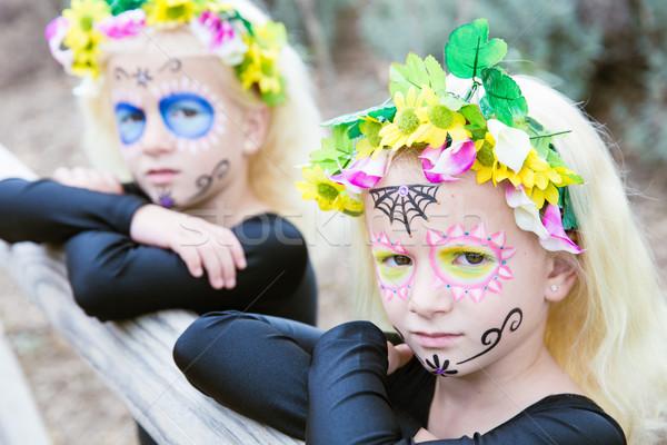 Halloween bliźniak siostry cukru czaszki makijaż Zdjęcia stock © BigKnell