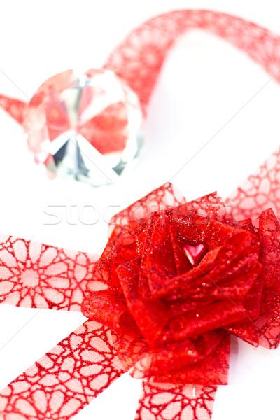 Heart in ribbon rose Stock photo © BigKnell