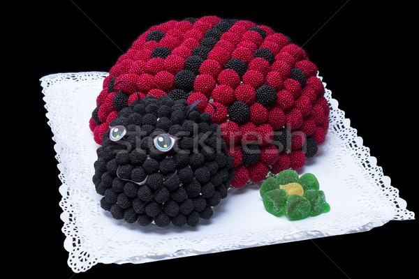 Katicabogár torta szeder fekete papír jókedv Stock fotó © BigKnell