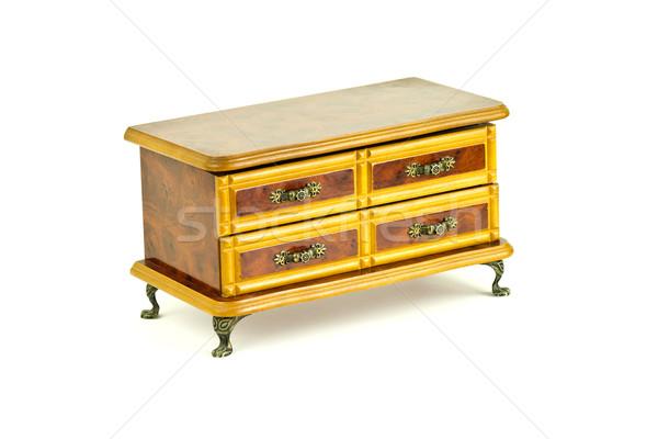 Bois poitrine tiroirs blanche bois rétro Photo stock © BigKnell