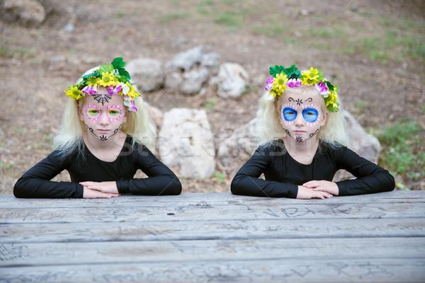 Halloween bliźniak siostry tabeli Fotografia dziewcząt Zdjęcia stock © BigKnell