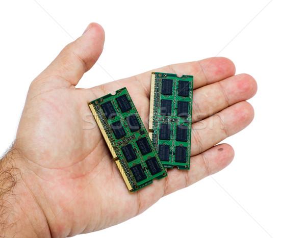 Kéz laptop emlék tart izolált fehér Stock fotó © BigKnell