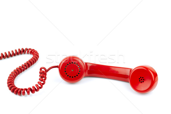 Kordon yalıtılmış beyaz telefon arka plan Stok fotoğraf © BigKnell