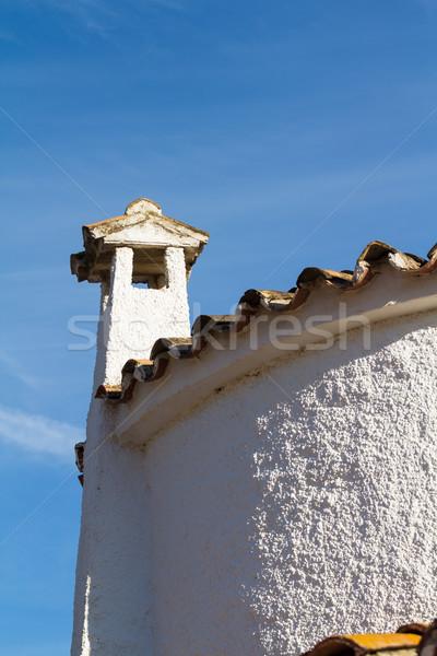 Oude dak schoorsteen betegelde muur zomer Stockfoto © BigKnell