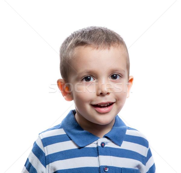 Küçük erkek gülen portre mutlu neşeli Stok fotoğraf © BigKnell