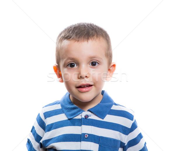 Zdziwiony mały chłopca portret piękna odizolowany Zdjęcia stock © BigKnell