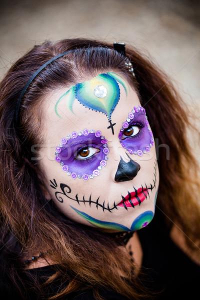 Młoda kobieta cukru czaszki makijaż atrakcyjny dziewczyna Zdjęcia stock © BigKnell