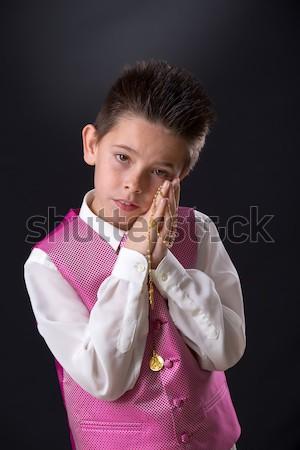 Fiatal srác tart rózsafüzér első szent úrvacsora Stock fotó © BigKnell