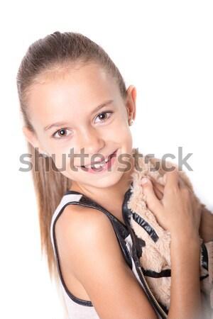 Mutlu genç kız gülen portre kız Stok fotoğraf © BigKnell