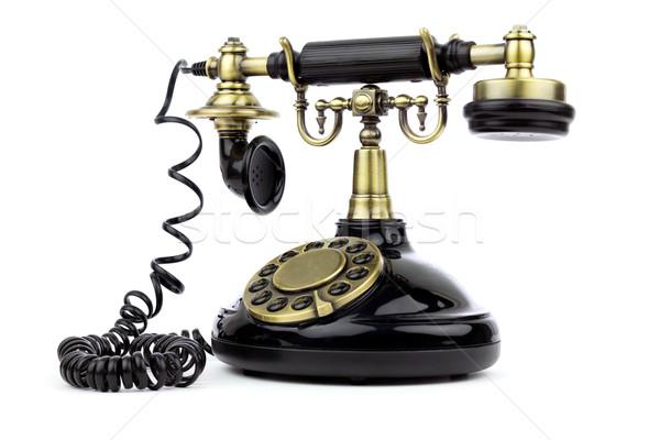 Starych vintage czarny telefonu biały działalności Zdjęcia stock © BigKnell